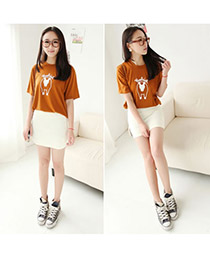 Brown White Fit Silm A Shape Mini Skirt Cotton Dress-Skirt