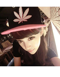 Womens Black Leaf Weed Cloth Baseball Caps