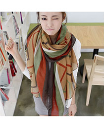 Sapphire Coffee Stripe Pattern  Temperament Cotton Fashion Scarves