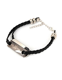 Marvelous Black Letter One Piece Design Alloy Korean Fashion Bracelet