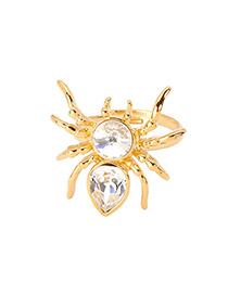 Classic Gold Color Diamond decorated Spider Shape Design Alloy Fashion Rings