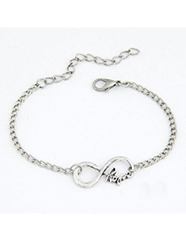 Online Silver Color Lucky Digital 8 Decorated Design(Letters Will Be Random) Alloy Korean Fashion Bracelet