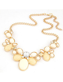 Caterpilla Beige gemstone flower Decorated Alloy Bib Necklaces