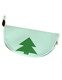 Homemade Light Green Tree Pattern Design Leather Pencil Case Paper Bags