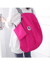 Ethnic Plum Red Multifunction Foldable Two Shoulder Design POLY Nylon Backpack