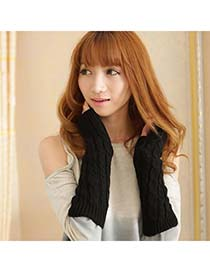 Teen Black Mitten Braided Long Fingerless Knitting Wool Fashion Gloves