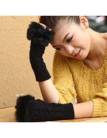 Profession Black Fingerless Plaid Kint Style Knitting Wool Fashion Gloves