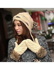 Hippie Beige Hang Neck Braided Kint Knitting Wool Fashion Gloves