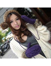 Chic Purple Hang Neck Braided Kint Knitting Wool Fashion Gloves