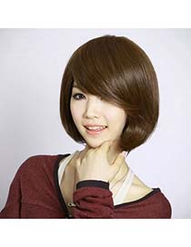 Jockey Light Brown Bobo Style With Tilted Bang High-Temp Fiber Wigs