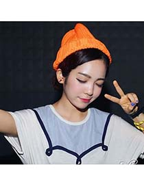 Padded Orange Simple Candy Color Design Knitting Wool Fashion Hats