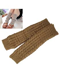Hot Khaki Braided Loose Thicken Style Knitting Wool Fashion Gloves