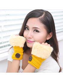 Charm Yellow Half Fingerless Design Knitting Wool Fashion Gloves