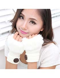 Specialty White Half Fingerless Design Knitting Wool Fingerless Gloves