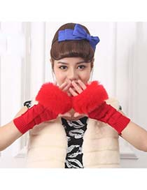 Native Bright Red Thicken Squares Fingerless Knitting Wool Fashion Gloves