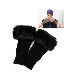 Plaid Black Thicken Squares Fingerless Knitting Wool Fashion Gloves