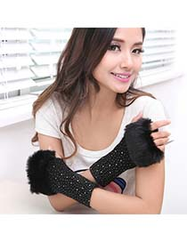 Expired Black Fingerless Warmth Style Knitting Wool Fashion Gloves