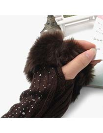 Cool Coffee Fingerless Warmth Style Knitting Wool Fashion Gloves