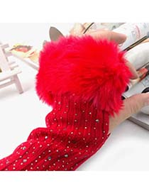 Native Bright Red Fingerless Warmth Style Knitting Wool Fashion Gloves