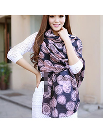 Lilac Pink Horologe Pattern Chiffon Fashion Scarves
