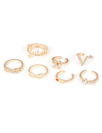 Beautiful Gold Color 8 Shape Bow Design Alloy Korean Rings