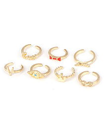 Equestrian Gold Color Love Eyes Crown Design Alloy Korean Rings