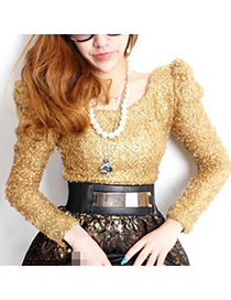 Homemade Gold Color Mirror Surface Style Alloy Wide belts