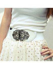 Rave White Carve Flower Wide Design Alloy Wide belts