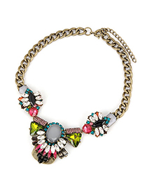 Monogram Multicolor Geometry Crystal Short Style Alloy Fashion Necklaces