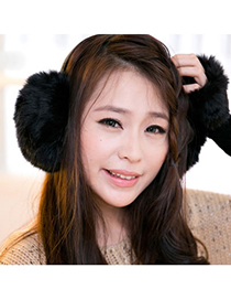 Misses Black Winter Warmth Design Imitate Rabbit Fur Fashion earmuffs