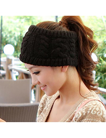 Active Black Big Braided Design Knitting Wool Hair band hair hoop