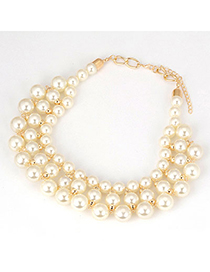 Designer White Pearls Short Style Alloy Fashion Necklaces