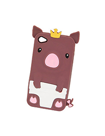 Sweet Chocolate Crown Pig Design Silicon Iphone 4 4s