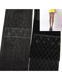 Spiritual Black Thin Grid Pattern Yarn Fashion Stockings