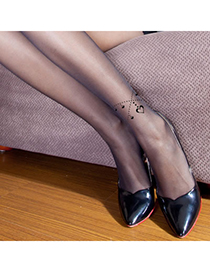Stylish Black Thin Heart Pattern Yarn Fashion Stockings
