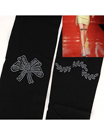 Sling Black Big Bowknot Pattern Yarn Fashion Stockings