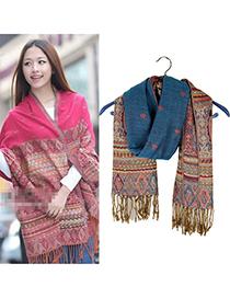 Flamenco Blue Vintage Pattern Cotton Blends Fashion Scarves