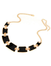 Fashion Black Round Shape Decorated Simple Short Chain Necklace