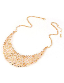 Disposable Gold Color Hollow Crescent Moon Alloy Korean Necklaces