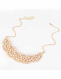 Squash White Pearl Weave Design Alloy Bib Necklaces