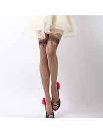 Expired Skin Color Thin Lace Flower Design Velvet Fashion Stockings
