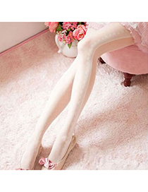 Baroque White Dot Lace Design Velvet Tattoo Stockings