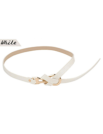 Standard White Tie Off Design Pu Leather Thin belts