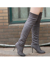 Stretch Gray Simple Design Dull Polish Velvet Boots