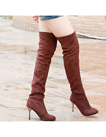 Indian Brown Simple Design Dull Polish Velvet Boots