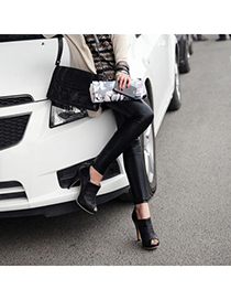 Exquisite Black Open Toe Design Pu Leather Pumps