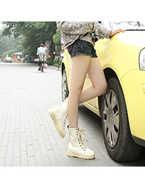 Juniors Beige One Side Zip Design Pu Leather Boots