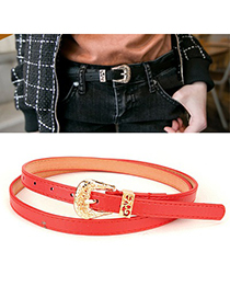 Down Red Hollow Out Flower Design Pu Thin belts