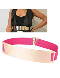 Splendid Plum Red Mirror Surface Wide Design Alloy Wide belts