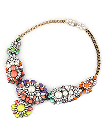 Folding Multicolor Mix Flower Pearl Decorated Alloy Fashion Necklaces